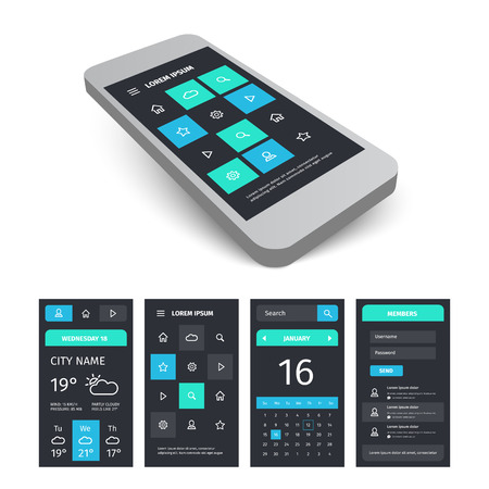 aplication: Vector mobile user aplication interface template. Mobile app ui kit illustration with mockup.
