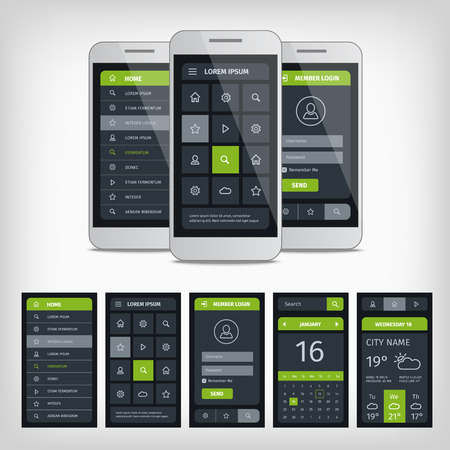 aplication: Set of mobile user aplication interface template. Mobile app ui kit illustration with mockup.