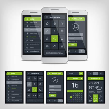 Set van mobiele gebruiker aplication-interface sjabloon. Mobiele app ui kit illustratie met mockup. Stock Illustratie