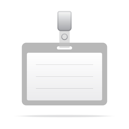 authorization: Gray blank vector name tag isolated on white background. Illustration