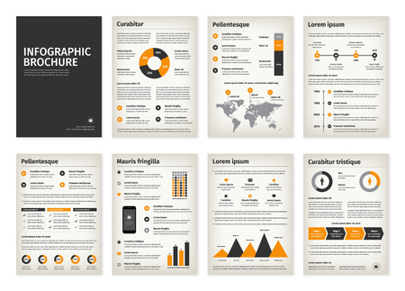 old world: Vintage business A4 brochures with infographic vector elements. Use in website, flyer, corporate report, presentation, advertising, marketing etc.