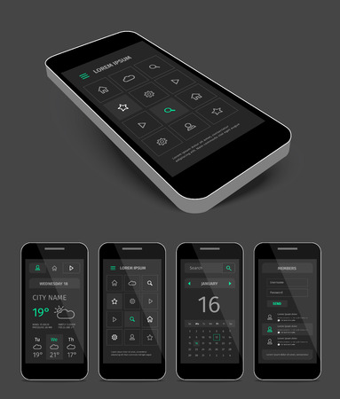aplication: Vector dark black mobile user aplication interface template with green. Pages with mobile mockup. Illustration