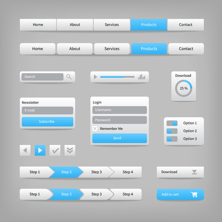 search bar: Web site elements with blue buttons on gray. Navigation menu bar with login interface, search and download button. Design template. Illustration