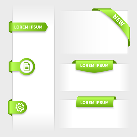 label tag: Collection of glossy rounded green 3d stickers. Website tabs with ribbon corner. Presentation on edge.
