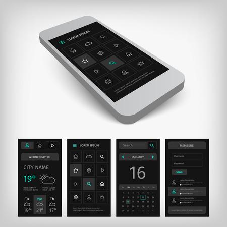 aplication: Set of black mobile user aplication interface. Mobile app ui kit illustration with mockup. Illustration