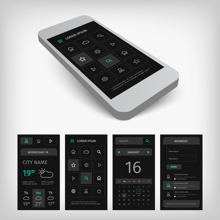 Set of black mobile user aplication interface. Mobile app ui kit illustration with mockup. Illustration