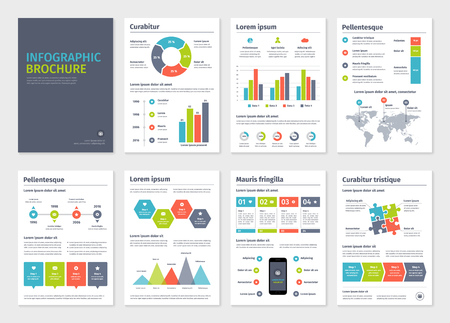 Business A4 brochures template with infographic vector elements.  イラスト・ベクター素材