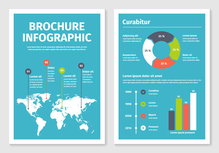 worldmap: Modern business infographic brochure template. Vector illustration. Part of collection number 1. Illustration