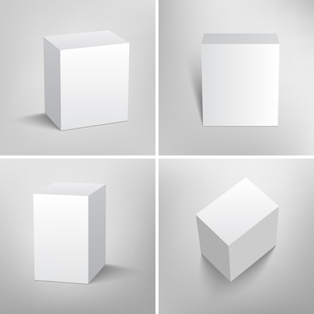 Set of blank packaging boxes. Mock up template ready for your design. Four different views.