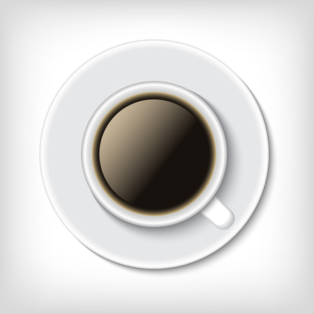 mocca: Top view cup of coffee isolated on white. Realistic vector illustration.