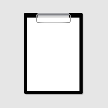checklist: Black clipboard with blank sheet of paper isolated on gray. Vector illustration. Illustration