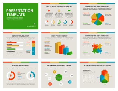 colorful slide: Set of Presentation Template. Infographic elements on slides. Vector design illustration.