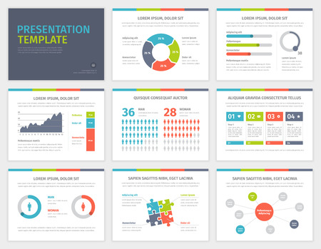 present presentation: Set of Presentation Template. Infographic elements on slides. Modern business style. Vector design illustration.