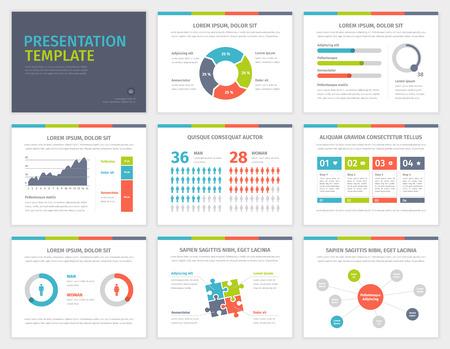 Set van Presentatie Template. Infographic elementen op dia's. Moderne zakelijke stijl. Vector ontwerp illustratie.