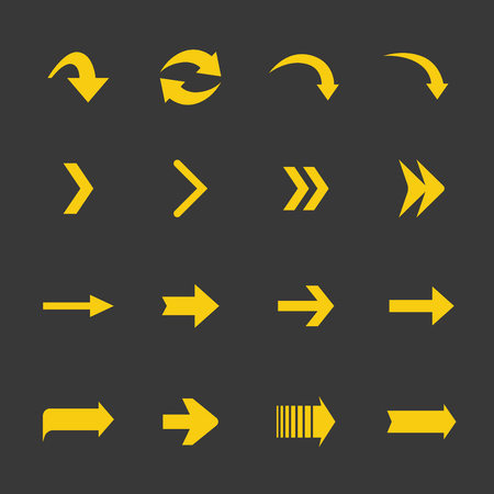 arrowheads: Arrow yellow icons sign set. Flat collection of arrows isolated on gray.