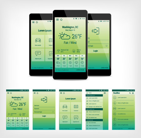 forcast: set of modern mobile user interface design. Template illustration. Mobile app ui kit.