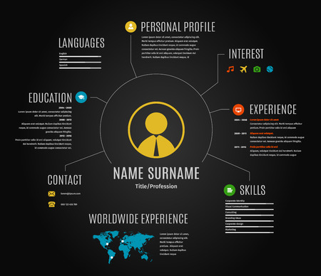 resume web infographic template cv with world map and icons. Dark black background. 矢量图像