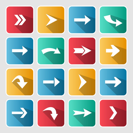 designator: Colorful arrow icon set. Square web button on white background. Simple shadow style. Illustration