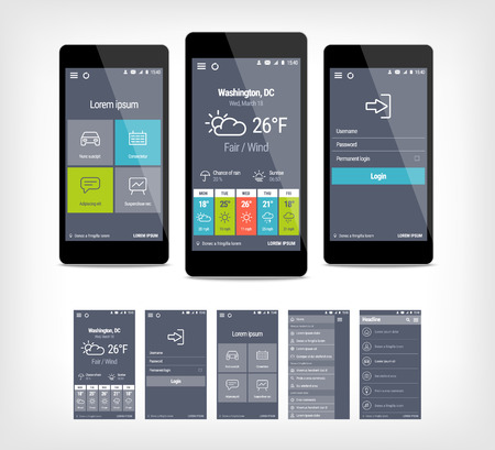 forcast: mobile app ui set of modern design. Template for user interface application. Illustration