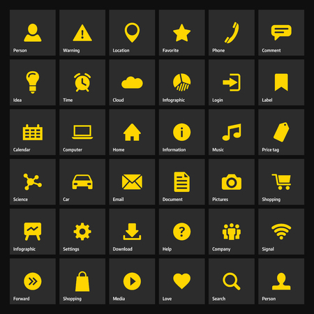 Universal Flat Yellow Web Icons Set For Internet Or Mobile