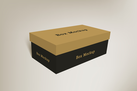 box: Shoes product packaging mock-up box. Illustration isolated on gradient background. Illustration