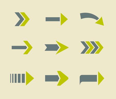 Green Arrow Icone del segno di raccolta. Piatto set da due colori.