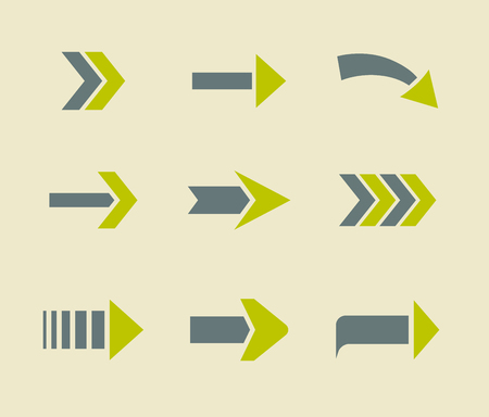 arrow icons: Green arrow icons sign collection. Flat set from two colours.