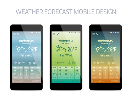 forcast: Template of weather forcast mobile aplication. modern design with gradient background.