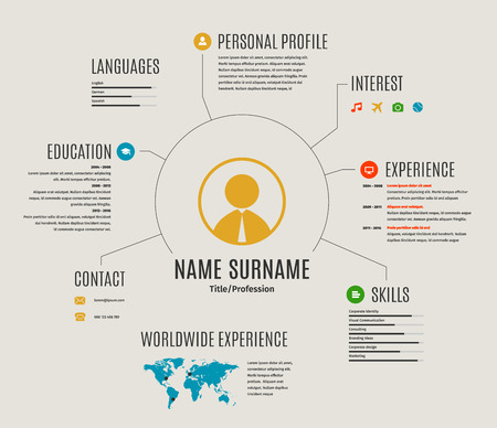 resume web infographic template cv with world map and icons. Stock Illustratie