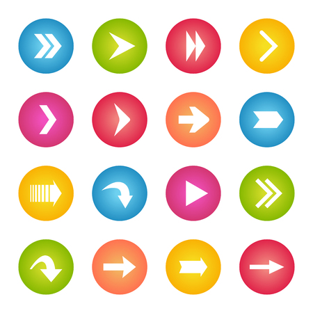 arrowheads: Colorful arrow icon collection. Circle web buttons. Illustration