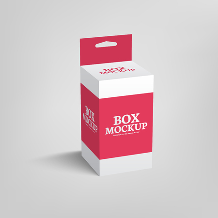 slot in: Realistic product package box mock-up with hang slot. mockup template in red color.