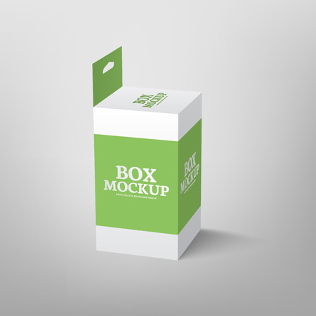 slot in: Realistic product package box mock-up with hang slot. mockup template in green color.