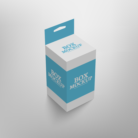 slot in: Realistic product package box mock-up with hang slot. mockup template in blue color. Illustration