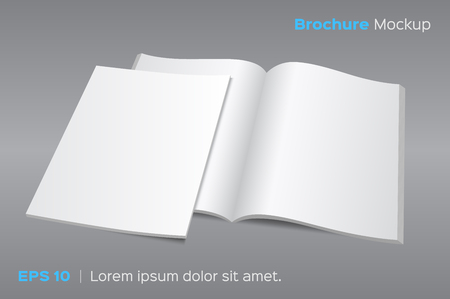 Blank opened magazine or brochure mockup. illustration on gray background. Photo realistic with shadows.