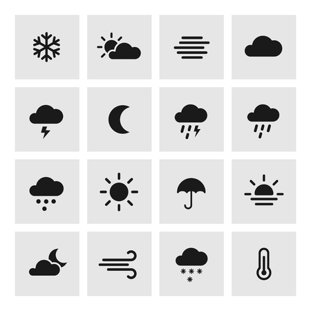 forcast: Weather forcast flat icons with squared background. collection of symbols.