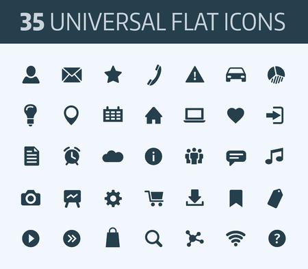 conjunto: Conjunto de iconos planos universales estándar para la impresión o Internet. de color azul sobre fondo blanco.