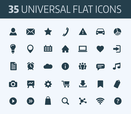 icons set: Set of standard universal flat icons for print or internet. Blue color on white.