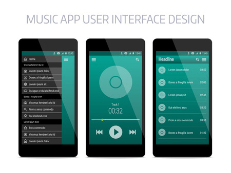 Música diseño de interfaz de usuario de la aplicación moderna. plantilla con la navegación y el jugador. Foto de archivo - 57213023