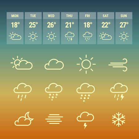 forcast: Weather forcast line icons on gradient hot background. Collection of symbols with aplication. Illustration