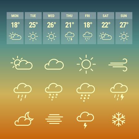 Wetter forcast Linie Symbole auf Gradienten heißen Hintergrund. Sammlung von Symbolen mit aplication. Vektorgrafik