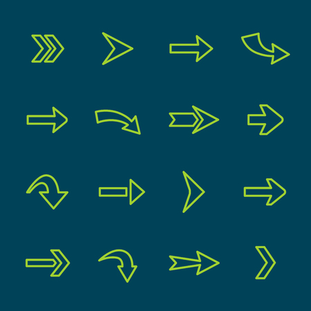 simplistic icon: Arrow sign lines icon set. Collection of direction symbols. Illustration