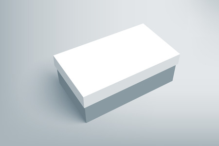 shoe box: Shoes product cardboard package box. Illustration isolated on gray background. Mock up template scene 1.