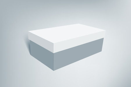 shoe box: Shoes product cardboard package box. Illustration isolated on gray background. Mock up template scene 2.