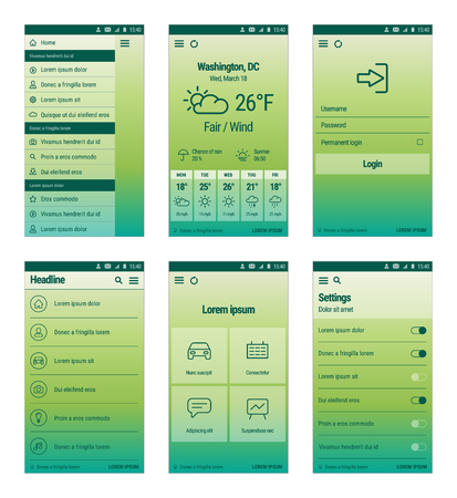 forcast: set of modern mobile user interface design. Green template of mobile app.