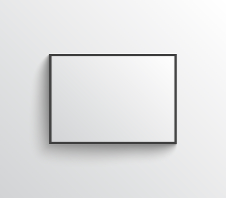 White blank poster with black frame on grey wall with shadows. Mock-up vector template.
