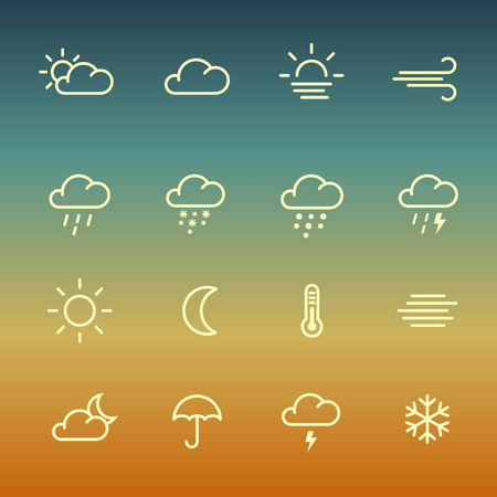 forcast: Lines weather forcast Icon set on green gradient background. Simple symbols for internet or print. Illustration