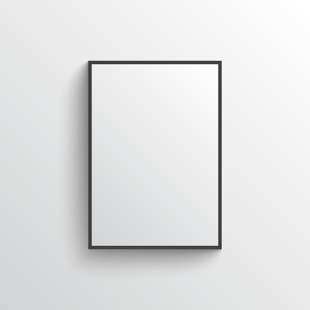 White blank poster with black frame on grey wall with shadows. Illustration