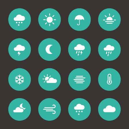 forecast: Weather forecast flat icons in circle shape Illustration