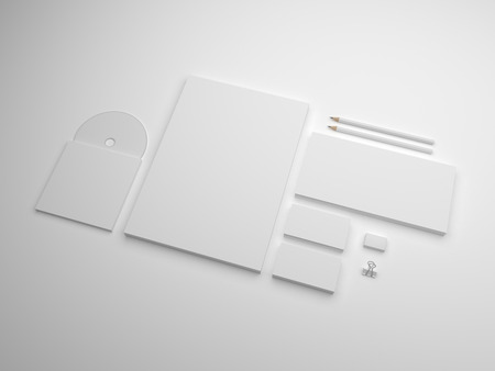 White branding mock-up with soft shadows. Set of brand stationery mockups with envelope, business cards and cd.