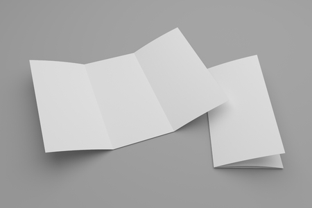 Blank open tri-fold brochure mock-up and closed with cover. Soft shadow on gray. Foto de archivo